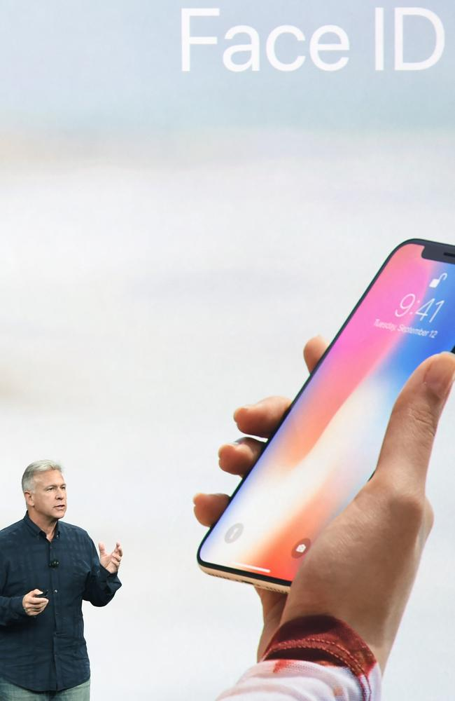 Senior Vice President of Worldwide Marketing at Apple, Philip Schiller, introduces the iPhone X during this morning's media event at Apple's new headquarters in Cupertino, California. Picture: Josh Edelson