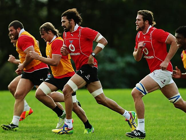 Victor Matfield (fourth from left) takes part in a sprint drill at a Bulls training session.