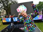 Vicki Bennett celebrates at the marriage equality rally in Hindmarsh Square. Picture: AAP/David Mariuz