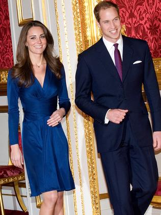 Kate Middleton and Prince William at their official engagement announcement in 2010. Picture: Getty Images