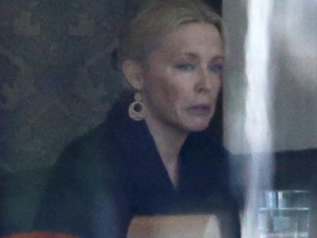 Kylie Minogue looks upset and tense while talking to a female friend at the Park Hyatt Hotel in Sydney in November. Picture: Mega TheMegaAgency.com