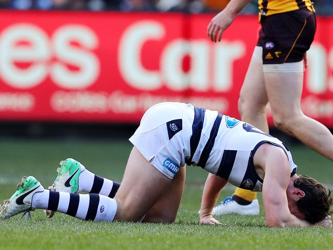 Patrick Dangerfield on the ground after injuring his leg at the weekend against the Hawks. Picture: Michael Klein