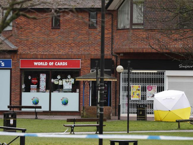 A police cordon at The Maltings shopping centre in Salisbury, southern England. Picture: AFP