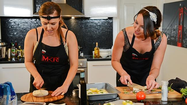 Chloe and Kelly prepare their 'three cheese' entree in Episode 6 of My Kitchen Rules.