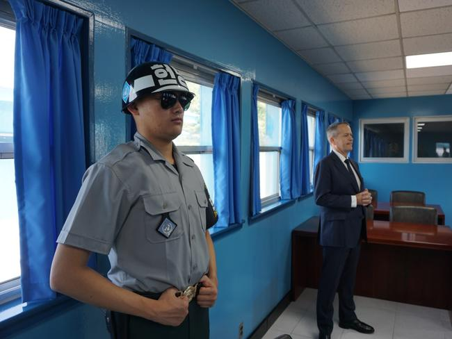 Opposition Leader Bill Shorten visits the demilitarised zone between North and South Korea.