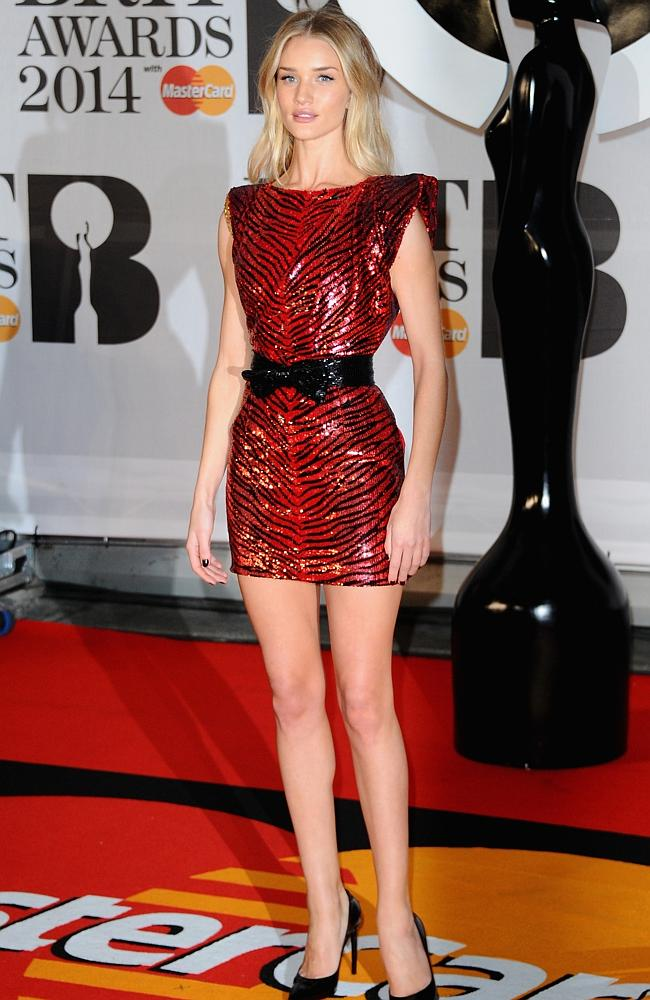 Rosie Huntington-Whiteley attends The BRIT Awards 2014.