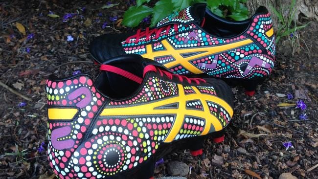 Aboriginal indigenous design designed football boots footy rugby league