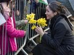 Meghan Markle meets fans as she arrives with Britain's Prince Harry for a visit to Cardiff Castle in Cardiff, Wales, Thursday, Jan. 18, 2018. Picture: AP