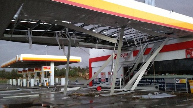 A petrol station is damaged in Euroa.
