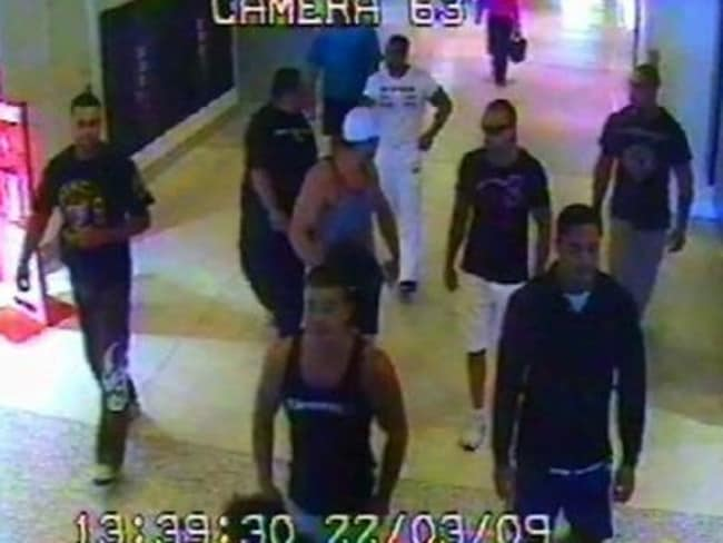Hawk and his associates were captured on CCTV at Sydney airport during the fatal 2009 brawl. Picture: NewsCorp