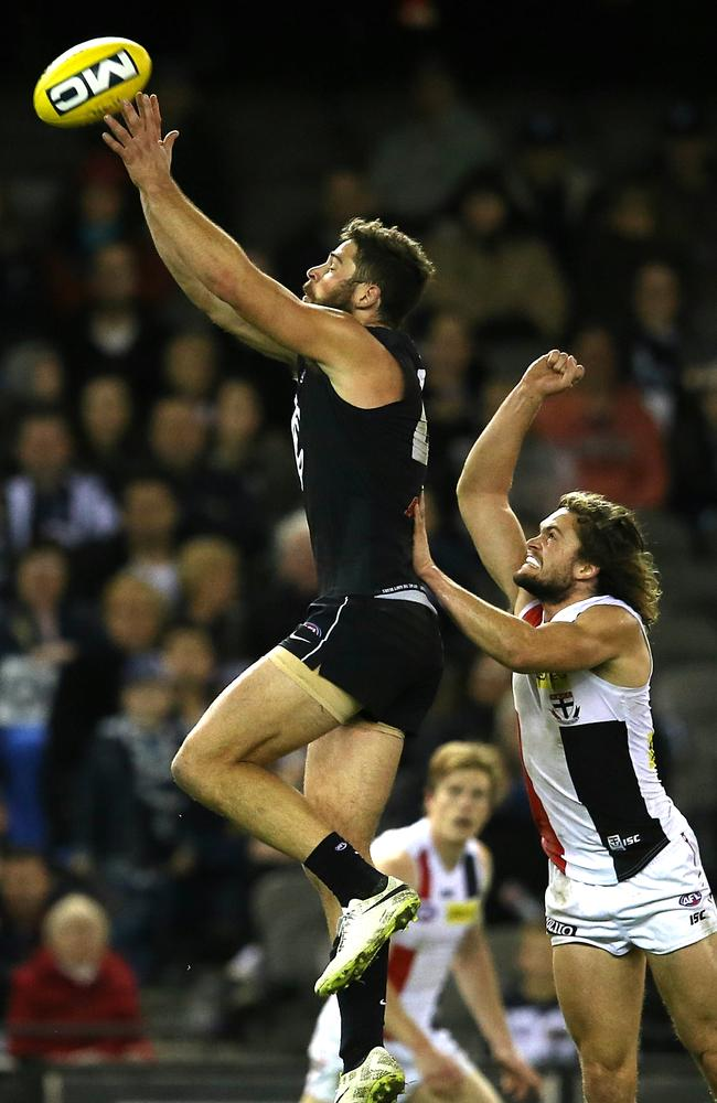 Levi Casboult climbs high to mark against St Kilda. Picture: Wayne Ludbey