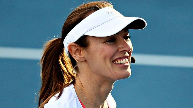 Martina Hingis playing an exhibition match in Hobart earlier this month.