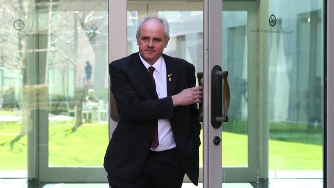 Senator John Madigan resigns from the DLP at Parliament House in Canberra.