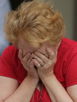 Emotional moment ... Church of England member Sally Barnes weeps with joy after the vote. Picture: Christopher Furlong