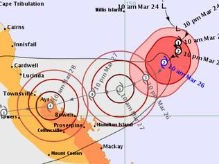BOM Cyclone Debbie Forecast Track map for 11am, Sunday March 26.