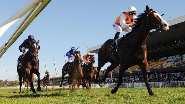 Menari unleashed a powerful finishing burst to win the Rosebud. Picture: Simon Bullard