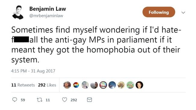 Benjamin Law's tweet has caused controversy.
