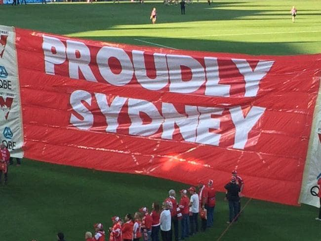 Banner funny man outs Sydney Swans