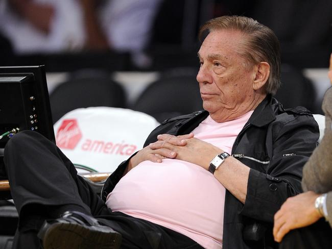 Former Los Angeles Clippers team owner Donald Sterling watches his team play the Utah Jazz in Los Angeles. Picture: Mark J. Terrill