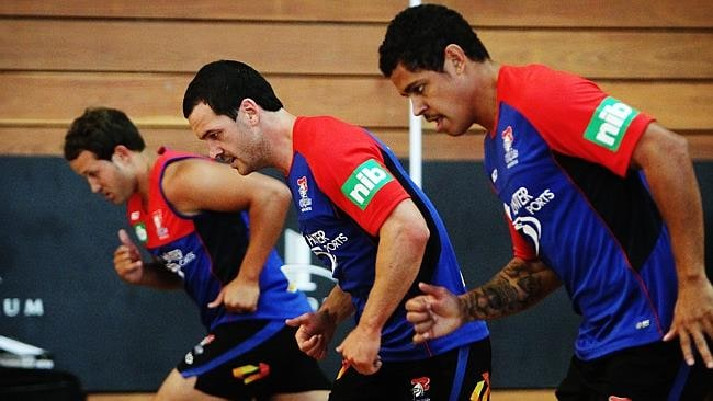 Newcastle Knights completing a fitness test as their pre-season training begins at the Forum fitness centre at the Newcastle University.