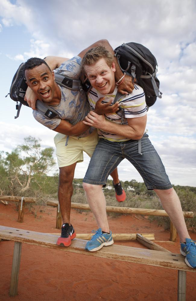 The Amazing Race contestants John Gbenda-Charles and Murray Roeske. Picture: Seven