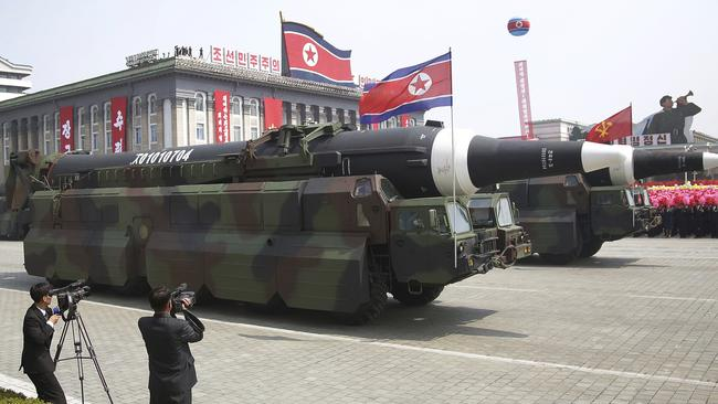 What could be an intercontinental ballistic missile is paraded across Kim Il-sung Square during a military parade in Pyongyang, North Korea. Picture: AP Photo/Wong Maye-E