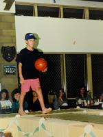 Showing his basketball skills on the cat walk at a P&C function in Dampier.