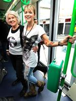 <p>Ruby Rose had a pop up fashion show on a tram for the MSFW. Ruby is with her grandmother Deidre Rose (left) Picture: Ellen Smith</p>