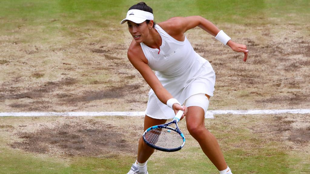 Garbine Muguruza plays a forehand during the Ladies Singles final.