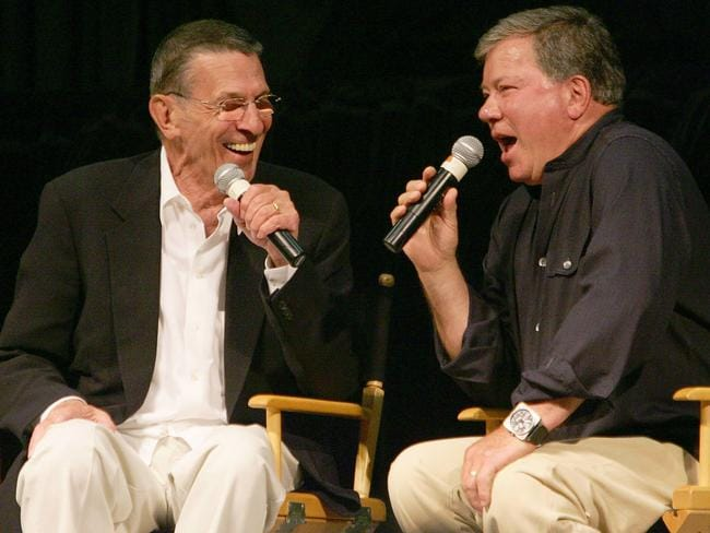 Buddies ... William Shatner (R) and Leonard Nimoy (L) were close friends. Picture: AFP/Robyn Beck