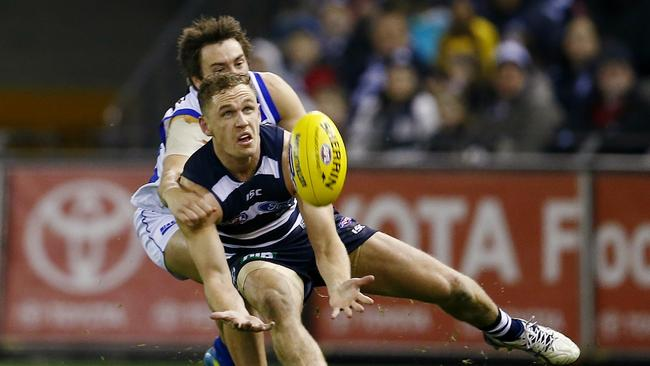 Joel Selwood finished with 29 touches. Picture: Michael Klein