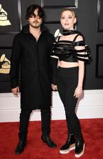 Jordan 'B00ts' Asher and Rose McGowan attend The 59th GRAMMY Awards at STAPLES Center on February 12, 2017 in Los Angeles, California. Picture: AFP