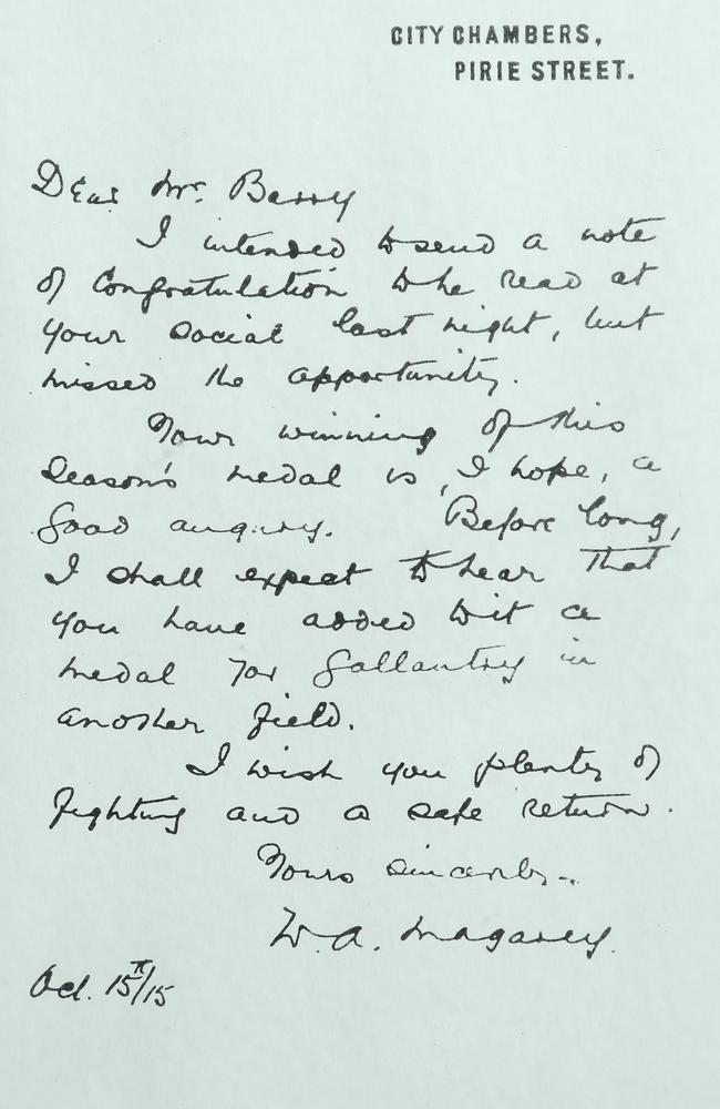 The letter from William Magarey to Frank Barry.