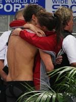2008 Telstra Australian Swimming Championships at Sydney Olympic Park Aquatic Centre. Eamon Sullivan breaks world record to win the 50m Freestyle Final and celebrates with girlfriend Stephanie Rice.