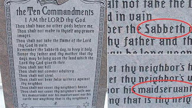 At $US20,000, critics of the 10 Commandments statue say they'd expect less typos.
