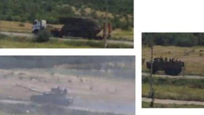 A convoy transporting the launcher across the Donetsk region of Ukraine. The Security Service of Ukraine say this is evidence MH17 was shot down with the use of Buk antimissile system.