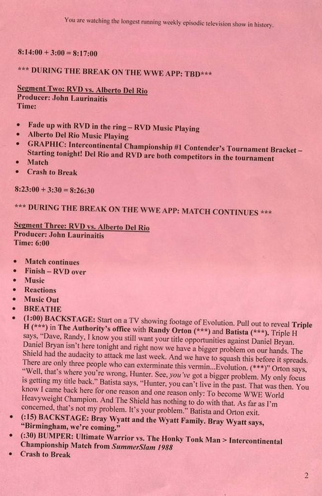 A leaked script from April 14's WWE Monday Night Raw.