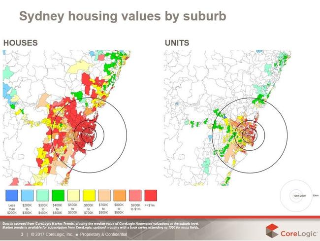Even the number of suburbs where apartments are reaching $1 million is astonishing. Graph: CoreLogic