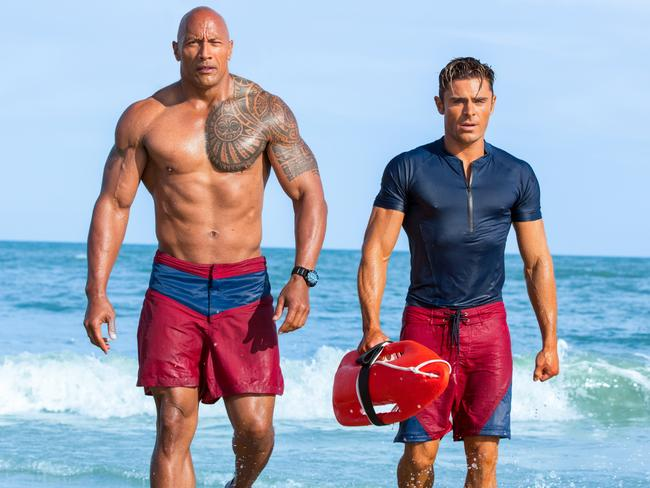 Dwayne Johnson and Zac Efron are the sex objects in the film adaptation. Picture: Frank Masi