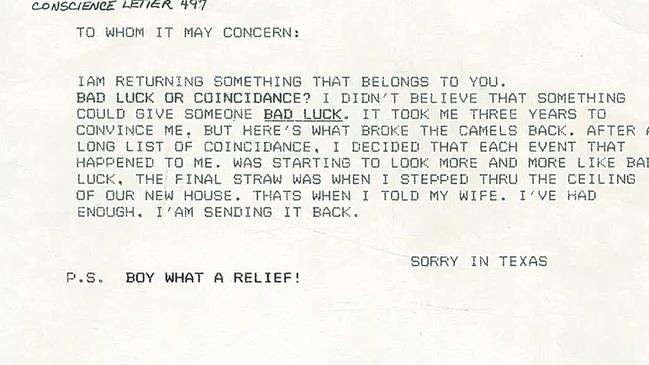 """The letter from """"Sorry in Texas"""". Picture: Petrified Forest National Park archives"""
