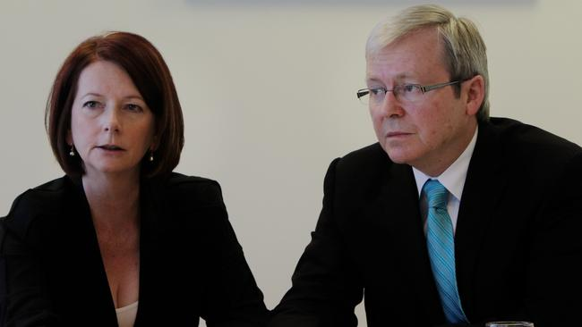 Former Prime Ministers Julia Gillard and Kevin Rudd.
