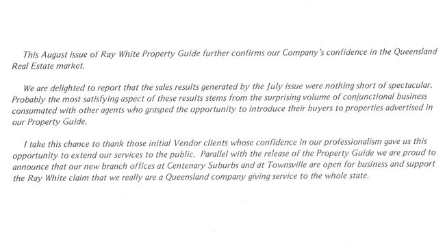 A company statement from 1979 about the company's confidence in the Queensland real estate market. The company owned 15 offices by the late 1970s.