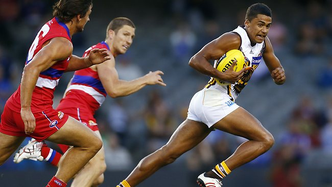 Bradley Hill shows Boyd and Griffin a clean pair of heels Picture: Klein Michael