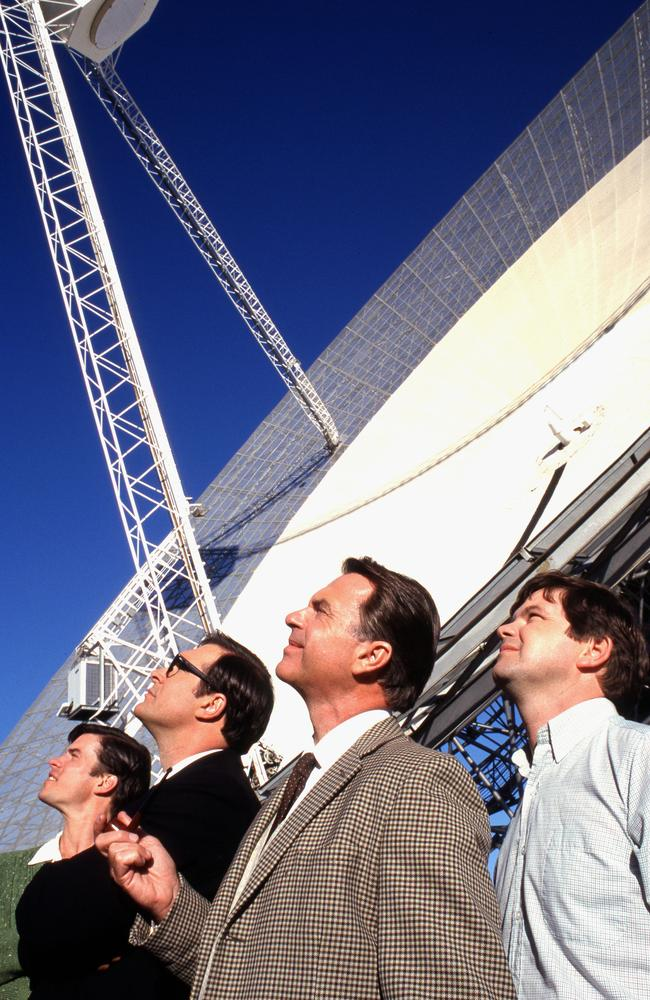 Actors Tom Long, Patrick Warburton, Sam Neill and Kevin Harrington in The Dish / Picture: Supplied