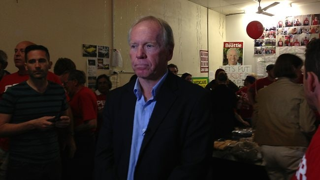 Peter Beattie in his Forde office following the close of voting.