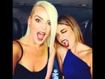 "Behind The Scenes 2014 MTV VMAs... Actress Sarah Hyland, ""#VMAs here we come!!!! Two wild and crazy gals! @ImTheKatie"" Picture: Twitter"
