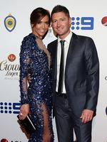 Australian captain Michael Clarke and his wife Kyly Clarke on the red carpet of the 2014 Allan Border medal. Pic Brett Costello