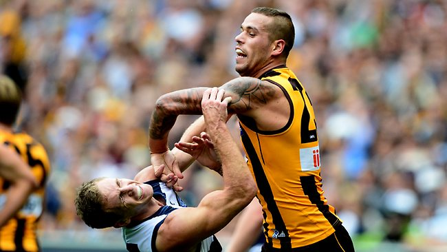 Hawthorn v Geelong, Lance Franklin bumps Joel Selwood off play, Picture: Ludbey Wayne