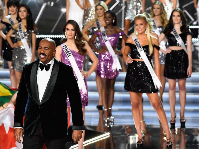Host Steve Harvey appears during the 2017 Miss Universe Pageant.