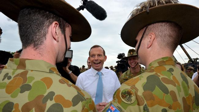 Tony Abbott thanked troops at Robertson Army Base.